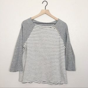 Loft lightweight terry cloth striped pullover
